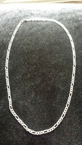 "Mens 925 Sterling Silver Figaro Link Chain 18"" Long"