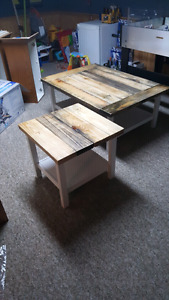 Country chic coffee table and side table made from salvaged wood