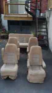 Set of 4 captain's chairs plus a bench / bed for a camper van