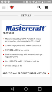 Mastercraft 3300/ 2400W portable 4 stroke Generator. New