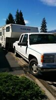 GMC Serria Truck with 20' TravelAire Fifth Wheel Travel Trailer