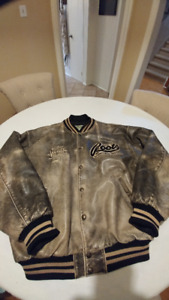 Vintage Men's Roots distressed leather bomber jacket