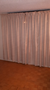 large beige curtains