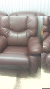 Leather love seat and chair