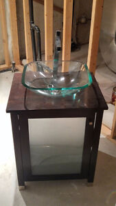 Solid Wood Bathroom Vanity with Faucet & Glass Bowl