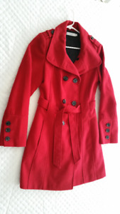 Ladies Red 3/4 Length Overcoat