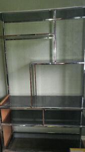 very heavy glass shelving unit