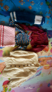 Knitted clothes size 3-4T. Cardigan, pants, scarf