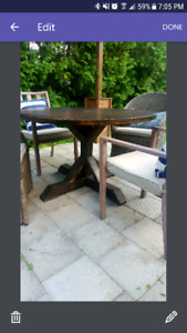Round Rustic X Frame Dining/Games Table