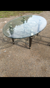 2 tables glass top - coffee and end table
