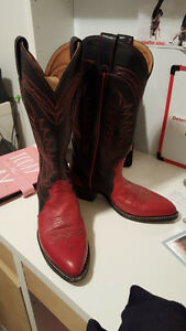 Stomping Hot Red/Black Leather Ladies Cowboy Boots