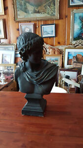 "VERY LARGE GREEK OR ROMAN STYLE BUST SCULPTURE 22"" TALL 12"" WIDE"