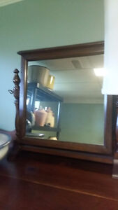 Vintage-Shaving-Mirror-Wood-Frame-Table Vanity Large swivel tilt
