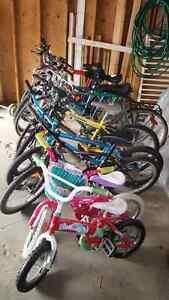 Lots of  kids, boys, girls, men and ladies bikes