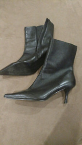 Black dressy leather boots