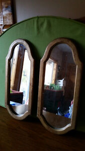 "Two vintage look mirrors 19 1/2"" x 9"", plastic frame"