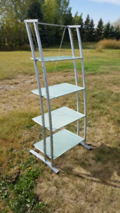 Tall Glass Shelving Unit