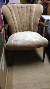 Antique extra wide wing back chair