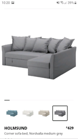 Reduced corner sofa bed ikea holmsund grey