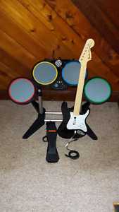 Xbox 360 Rockband drums/guitar/microphone