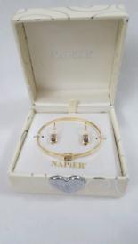 VINTAGE NAPIER EARRINGS/BANGLE SET.