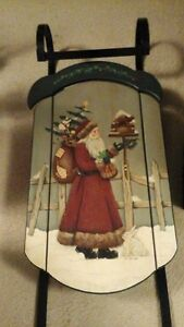 Tole painted Sleigh Xmas scene-40 inches tall