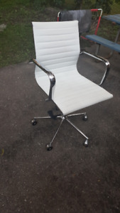 Office chair faux white leather
