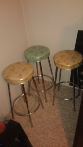 3 vintage diner style crome bar stools, crome chair