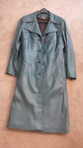 Teal long leather coat London Ontario image 1