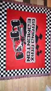 """Grand Prix car picture racing  blanket 60"""" x 45"""" new in bag"""