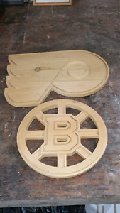 2 logos en bois NHL Flyers Philadelphie Bruins Boston