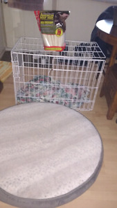 Dog cage, bed, supplies