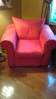 Red microfibre couch and chair