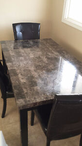 Faux Marble Dining Table With 4 Chairs - Quick Moving Sale
