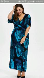 Floral Deep Blue Plus Size Dress 5 X