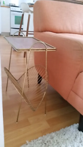 MCM brass and wood side table with magazine holder