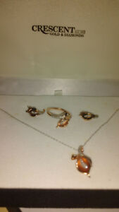 Rose Gold necklace, ring and ear rings.