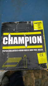 Champion paper collated D head nails and 2 fuel cells