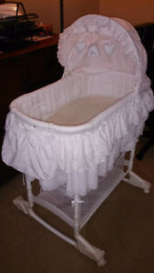 Bassinet, crib, stroller with infant car seat, baby swing