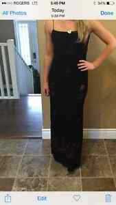 Black and burgundy velour gown