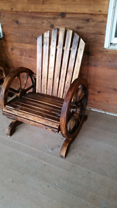 Rustic chair. 200$ wagon wheel