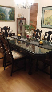 Antique dining set w 6 chairs & piano