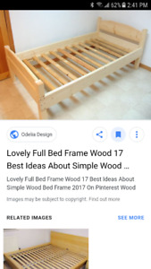 Wood Bed Frame and Mattress