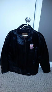 Mens Large Woolwich Wildcats Black Leather Jacket
