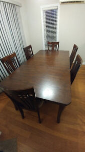Dining table set with 6 chairs + extendable table