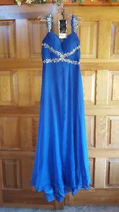 Rianna Coutre Designer Prom Dress. Blue Sweetheart Shape Full Le
