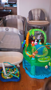 Multiple items - high chair, playpen, excersaucer, tub, jump&go