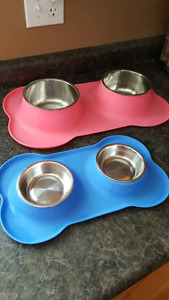 Med/large  dog water food dish and small cat food water dish