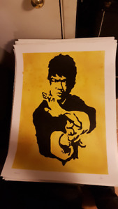 Bruce Lee MMA Original Art on 18x24 Paper by LeBach  Sparkle