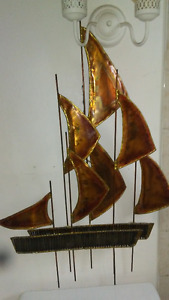 Copper/Tin Boats Art Craft with lights and plug Antique Vintage